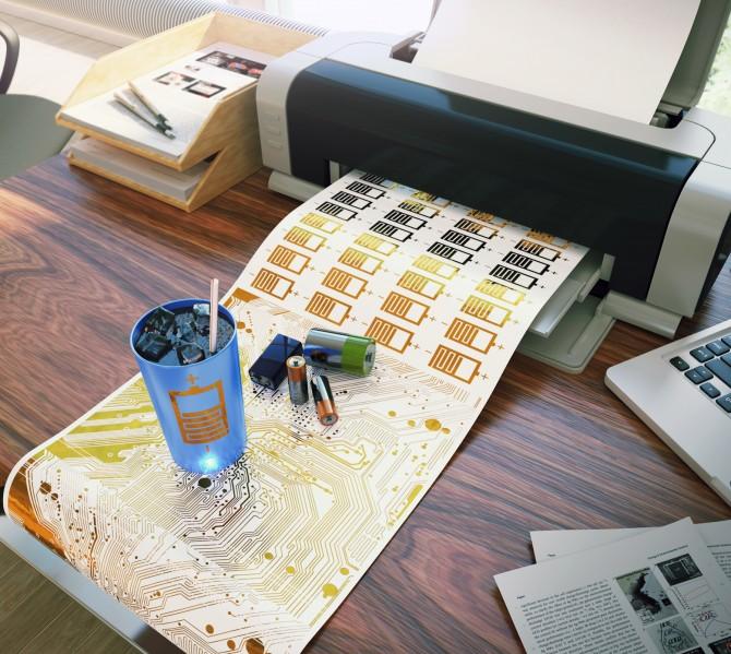 잉크젯 프린터로 종이 위에 출력한 전지와 이를 활용한 온도감지 컵. - 울산과학기술원(UNIST) 제공